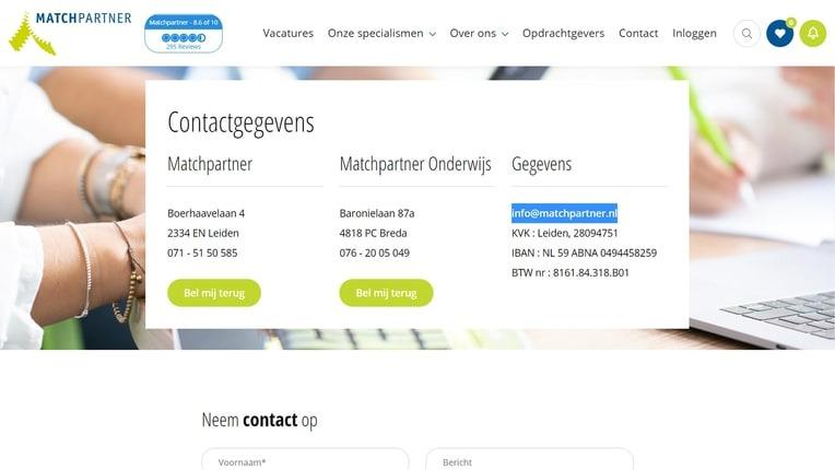 Contactgegevens Matchpartner