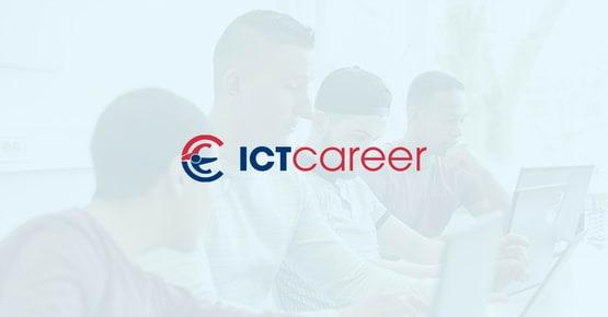 Logo van ICT Career op een blauwe achtergrond, business case - OTYS Recruiting Technology