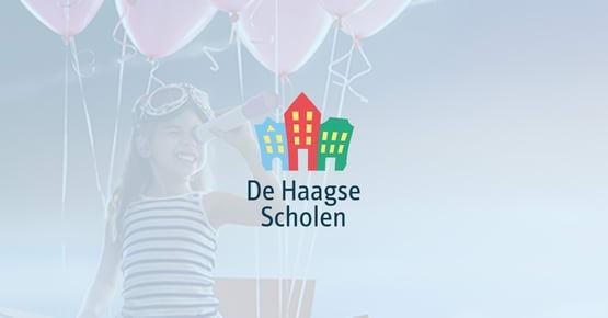 Logo van De Haagse Scholen op een blauwe achtegrond. Op de achtergrond vervaagd een afbeelding van een meisje en roze ballonnen, Business Case - OTYS Recruiting Technology
