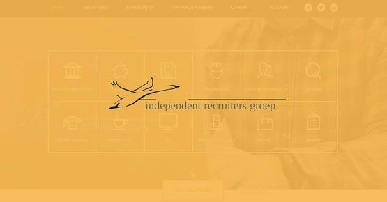 Logo van Independent Recruiters Groep op een oranje achtergrond, Business Case over het gebruik van OTYS voor hun recruitment processen - OTYS ?Recruiting Technology