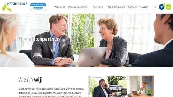 Een screenshot van de website van Matchpartner, gedesigned door GetNoticed en gebouwd door OTYS Recruiting Technology.